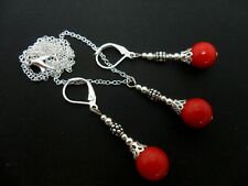 A RED CORAL BEAD NECKLACE AND LEVERBACK HOOK  EARRINGS SET. NEW.
