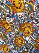 Novelty 100% Cotton Fabric Casino Poker Gambling Las Vegas Cotton Fabric