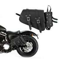 Universal Motorcycle Motorbike Leather Side Pouch Saddle Bag Bottle Holder UK