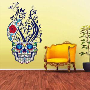 Full Color Wall Decal Sticker Cute Sugar Skull Curly Modern Fashion (Col345)