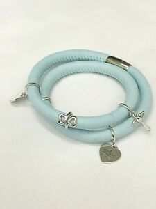 Endless Blue Leather Bracelet with Charms