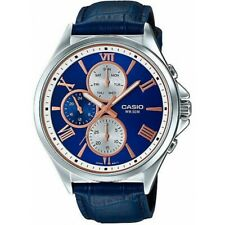 Casio MTP-E316L-2A2 Analog Blue Leather Band Mens Watch Date WR 50M MTP-E316