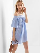 NWT Gap Smocked Off-Shoulder Cover up Dress Blue End On End Medium Tall