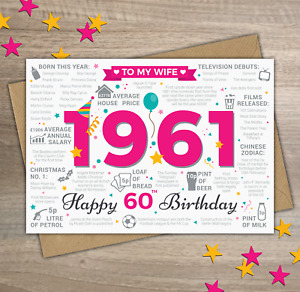 1961 WIFE Happy 60th Birthday Memories / Year of Birth Facts Greetings Card Pink