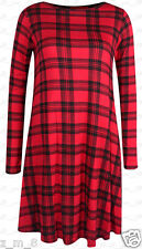 Womens Ladies Tartan Print Long Sleeve Swing Dress Midi Skater A-Line Flared