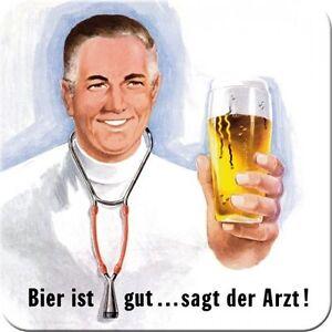 Nostalgic Art dessous de Verre Métalliques Bière Est Bien Dit Médecin 9x9 Liège