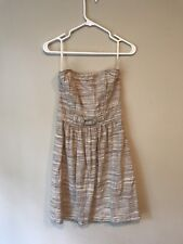 5679a65c07 Banana Republic Linen Cotton Strapless Dress - Size 4 - Tan Cream Brown  Striped