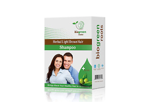 BioGreen Roots Herbal Natural Light Brown Hair Color Shampoo Cover Dye Gray Fast