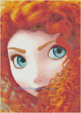 "Disney's Brave Princess ""Portrait of Merida"" Fantasy Cross Stitch Pattern CD"
