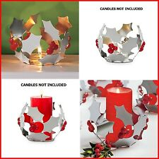 PARTYLITE 2 MODERN HOLLY SILVER & RED TEALIGHT / MINI PILLAR CANDLE HOLDERS NIB
