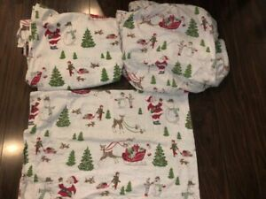 POTTERY BARN TWIN Christmas Santa Flannel FLAT&FITTED SHEET&pillowcase 3 pc