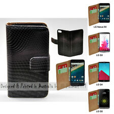 For LG Series Mobile Phone - 3D Block Wave Theme Print Wallet Phone Case Cover