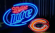 "Chicago Bears Miller Lite Neon Lamp Sign 20""x16"" Bar Light Beer Glass Display"