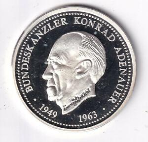 medaille Bundeskanzler Konrad Adenauer Deutschland PP Silber ?