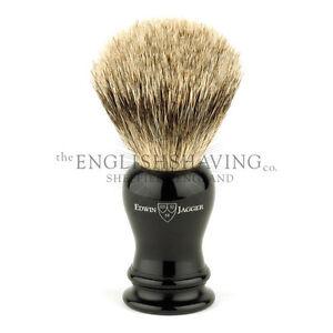 Edwin Jagger Loxley Ebony Shaving Brush (Best Badger) [BOXED, NEW]