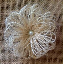 5 Hessian Swirl Flowers Ivory Natural With Pearls Vintage Shabby Chic