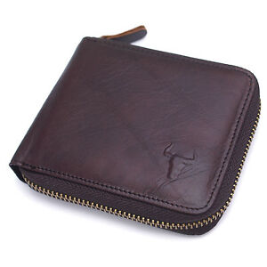 Men's Leather Wallet Zip Around Coin Pouch Purse Credit Card Holder Bluemount