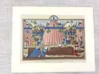1844 Antique Print Medieval Knight Jousting Tournament French English Military