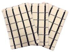 Waffle Terry Luxury Egyptian Tea Towel [3 PACK] 50x70cm CreamBlack
