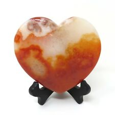 778g LARGE Red Agate Stone Heart 5.25 x 4.25 inches - Has Flaws - Stand Included