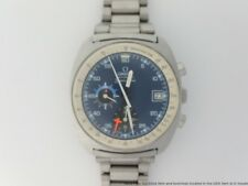 Vintage Omega Seamaster 176.001 Cal 1040 Automatic GMT Chronograph Blue Dial