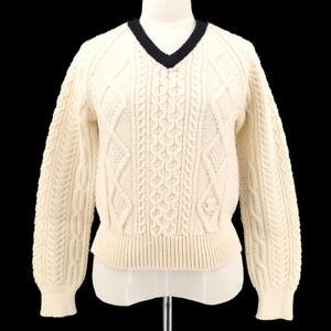 CHANEL 96A #40 Fisherman Long Sleeve Sweater Knit Ivory Black Wool GS01304h