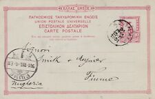 Greece 1901 10L Postal Stationery Card Athens to Fiume Italy