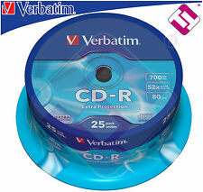 VERBATIM CD - R 700 MB 52X TARRINA 25 UDS SPINDLE BOBINA CDS 43432 TINTASYTONERS