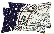 Indian Cotton Astrology Printed Bed Pillow Cover Cushion Sham Zodiac Pouf Case