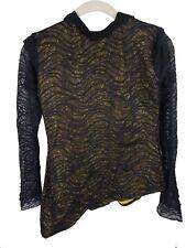 Black Stripe Mesh Yellow Dance Shirt/Costume - Adult Medium