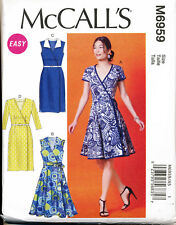 Mccall's Sewing Pattern 6959 Misses 6-14 Wrap Dress W/ Flared or Straight Skirt