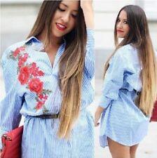 Zara Blue Stripe Shirt Dress With Patch Size MEDIUM BNWT