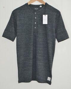 PAUL SMITH grey Henley Lounge Short Sleeve Tshirt loungewear top SMALL