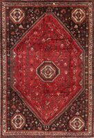 ANTIQUE Geometric Tribal RED Abadeh Area Rug Hand-Knotted Oriental WOOL 7'x11'