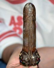 "4.8"" Antique Tibet crystal Silver Gem male organs of generation Statue Sculpture"