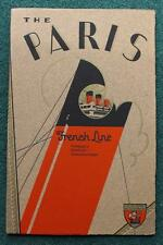 FRENCH LINE CGT SS PARIS ART DECO OCEAN LINER EARLY RARE BROCHURE C-1920'S