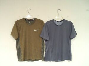 Lot of 2 Nike Running Mens Dri-Fit Shirt Size Large Moisture Wick Green Gray Top