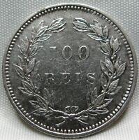 PORTUGAL 100 reis 1891 XF Carlos SCARCE Key Date #A96