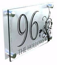Modern House Number Plaques Acrylic Wall Door Sign Flowers Name Plate Dec4-24BS