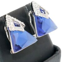 Sparkling Triangle Blue Sapphire Earrings Women Jewelry 14K White Gold Plated