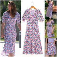 Kate Middleton Lilac Floral Flower Print Crepe French Dress Skirt Retro Summer