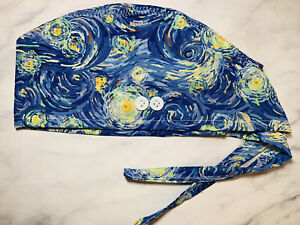 Starry Night Art Scrubs Caps Surgical Medical Head Cover With Ties Buttons