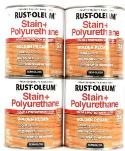 4 Cans Rust-Oleum 32 Oz Stain & Polyurethane 344671 Golden Pecan Semi Gloss