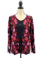 Talbots Womens Floral Cardigan Sweater Black Red Plus Size 1X Roses Merino Wool