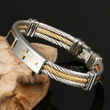 Colours Cable Cross Bracelet Stainless Steel Gold And Silver