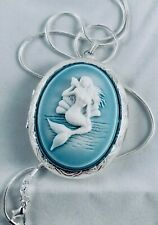 Ocean Blue MERMAID Cameo SILVER plt LOCKET NECKLACE Quality Sea Life Jewelry NEW