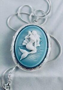 Ocean Blue MERMAID Cameo SILVER plt LOCKET NECKLACE gr8 Quality Sea Life Jewelry