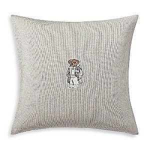 """Ralph Lauren Flannel Bear 100% Cotton 18"""" x 18"""" Decorative Throw Pillow - Grey"""