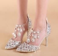 Chic Women Crystal Pointed Toe Ankle Strappy Rhinestones Wedding High Heel Shoes