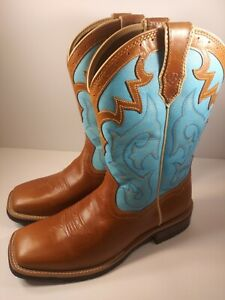 ARIAT UNBRIDLED TURQUOISE/LIGHT BROWN WOMENS SIZE 9B